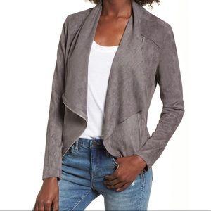 BLANKNYC Faux Suede Drape Front Jacket